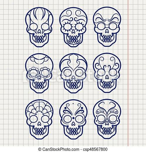 ボールペン, セット, メキシコ人, ペン, 頭骨 - csp48567800