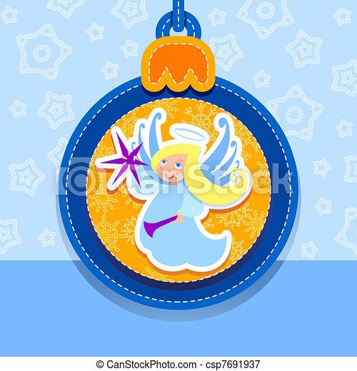 ボール, クリスマス, 天使, 葉書 - csp7691937