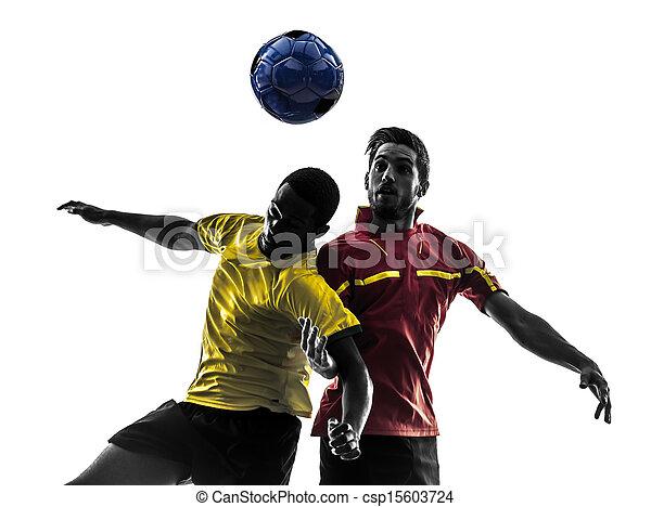 ボール, シルエット, 男性, 2, 戦い, プレーヤー, サッカー - csp15603724