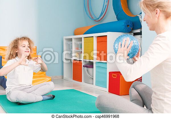 ボール, 患者, 遊び, physhiotherapist - csp46991968