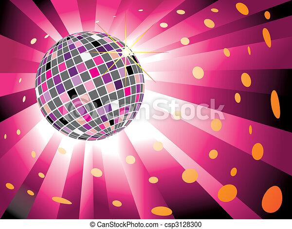 ボール, 爆発, ライト, 光っていること, ディスコ, 背景, マゼンタ - csp3128300