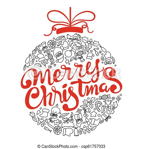 ボール, 芸術, いたずら書き, 活版印刷, 形。, メリークリスマス, 手書き