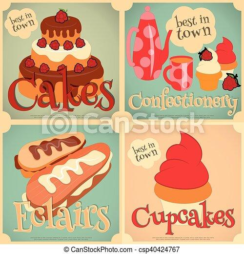 ポスター, ケーキ, セット, ミニ - csp40424767
