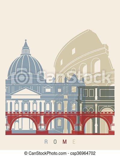 ポスター, スカイライン, ローマ - csp36964702