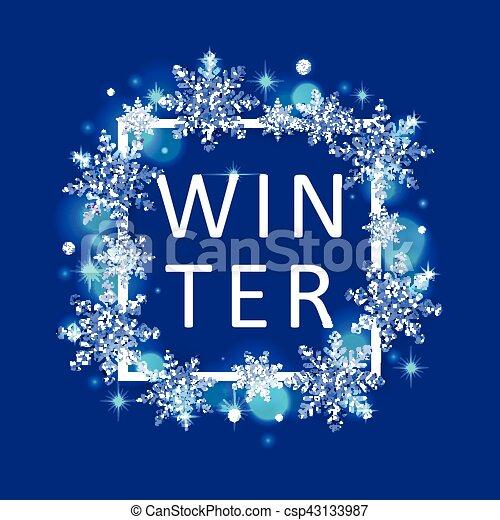 ポスター ベクトル 冬 イラスト テンプレート 青い正方形 単語 冬