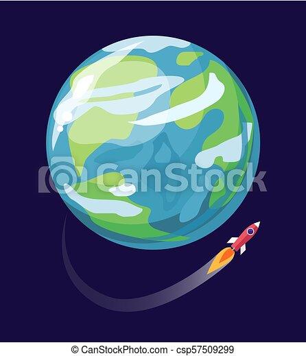 ポスター ベクトル 宇宙船 イラスト 地球 青 跡 プラカード ロケット