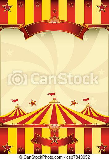 ポスター, 上, サーカス, 赤い黄色 - csp7843052