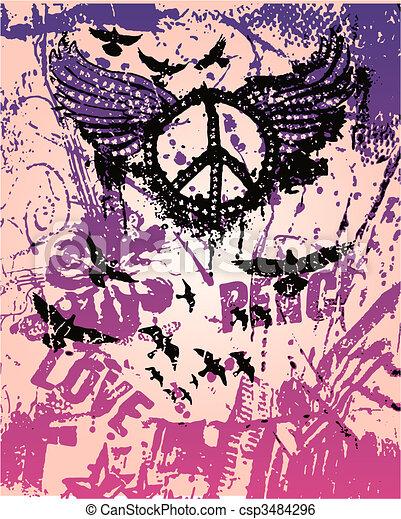 ポスター, 平和, 芸術, ポンとはじけなさい, 印 - csp3484296
