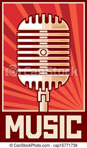 ポスター, 音楽, (microphone) - csp15771739
