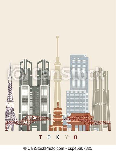 ポスター, v2, スカイライン, 東京 - csp45607325