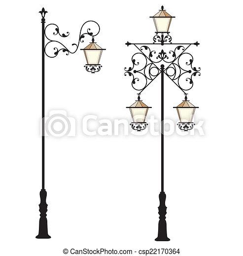 ポスト, 通り ランプ, 鉄, 細工された - csp22170364