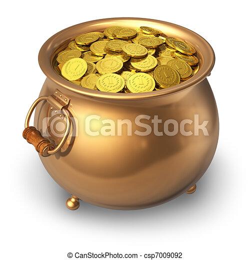 ポット, コイン, 金 - csp7009092