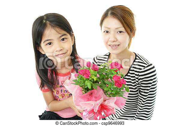 ポット, 花, 家族, 幸せ - csp9646993