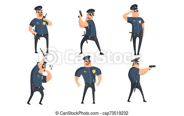 ポーズを取る, 特徴, 公衆, ユニフォーム, 状態, セット, 安全, イラスト, マレ, 別, 士官, 青, 面白い, ベクトル, 漫画, 警官 - csp73519232