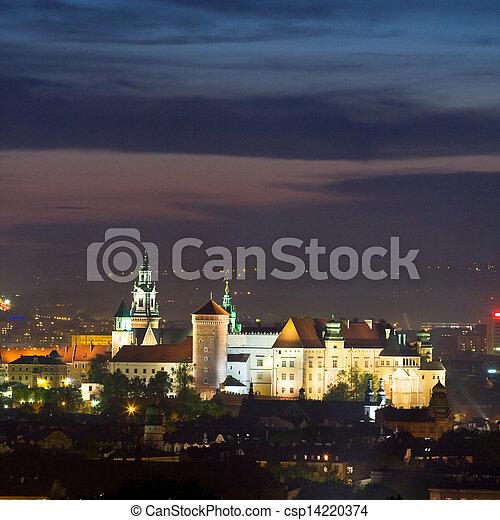 ポーランド, 夜, krakow, 現場 - csp14220374