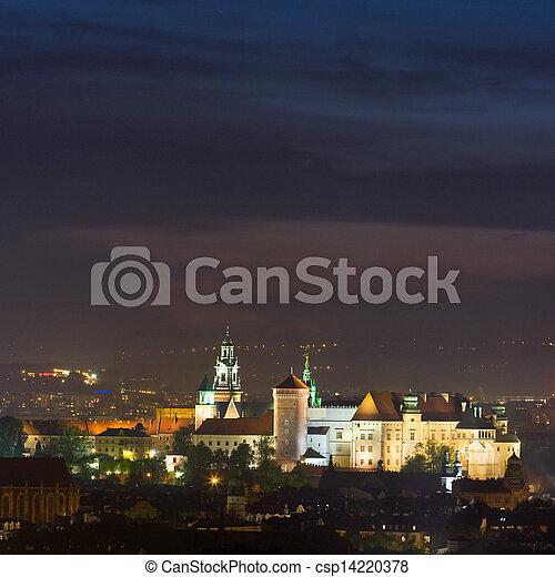 ポーランド, 夜, krakow, 現場 - csp14220378