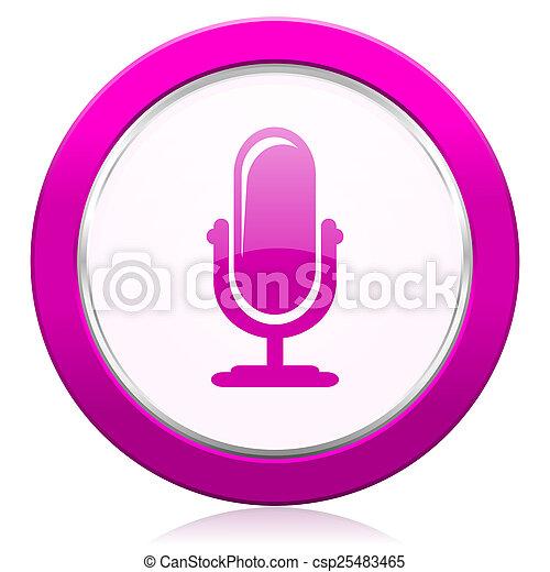 マイクロフォン, 印, すみれ, podcast, アイコン - csp25483465