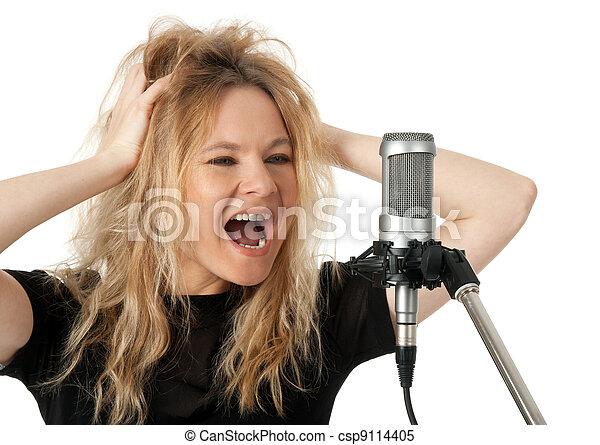 マイクロフォン, 叫ぶこと, 歌手, 岩 - csp9114405