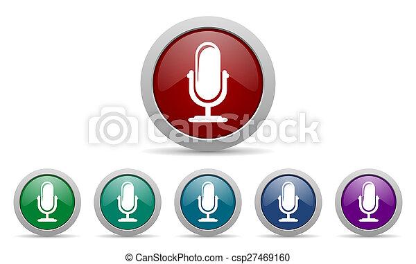 マイクロフォン, podcast, アイコン, 印 - csp27469160