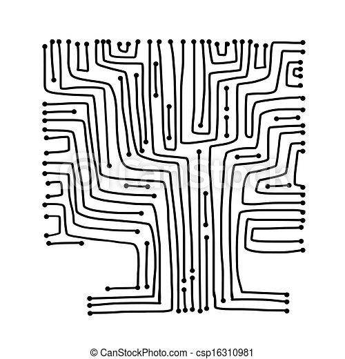 マイクロ回路, デザイン, 概念, 木, あなたの - csp16310981