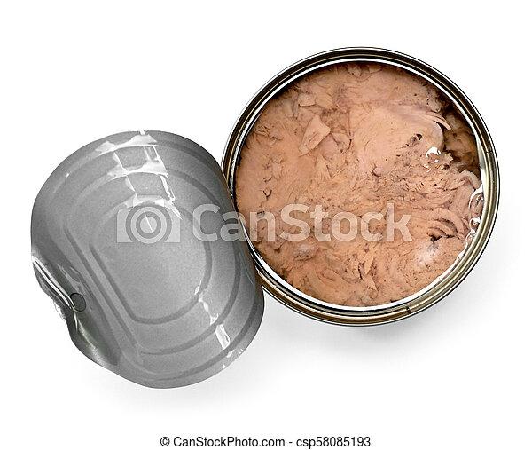 マグロ, 缶, 白, 隔離された, 背景 - csp58085193