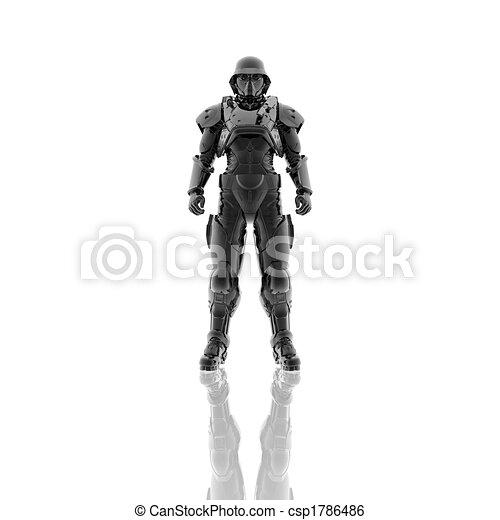 マスク, ガス, 隔離された, 兵士, 白, 3d - csp1786486
