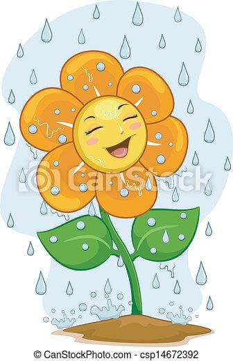 マスコット, 花, 雨, 下に - csp14672392