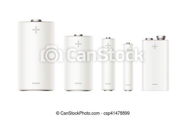 マット, セット, アルカリ, diffrent, 電池, 白, 大きさ - csp41478899