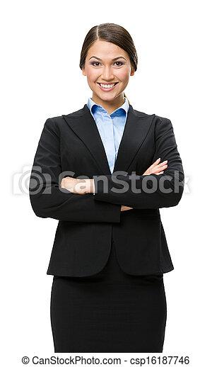 マネージャー, 交差させる, 女性手, 肖像画, 半分長さ - csp16187746