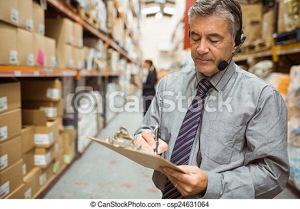 マネージャー, 執筆, クリップボード, 倉庫 - csp24631064