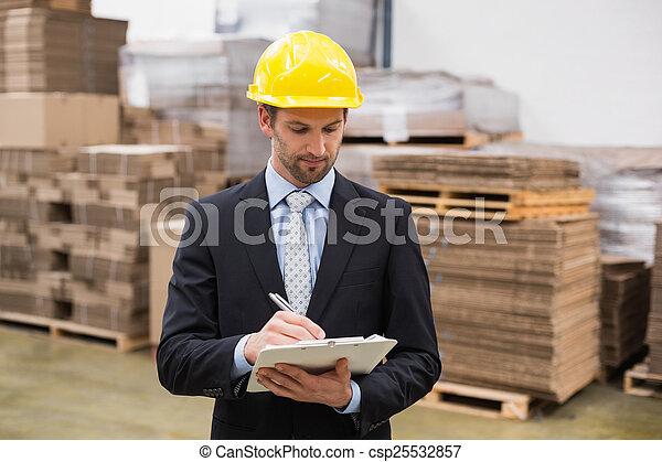 マネージャー, 執筆, クリップボード, 倉庫 - csp25532857
