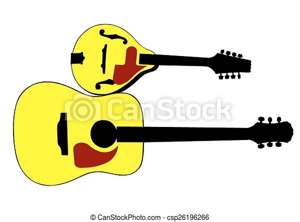 マンドリン ギター スタイル マンドリン 国 ギター 背景 白
