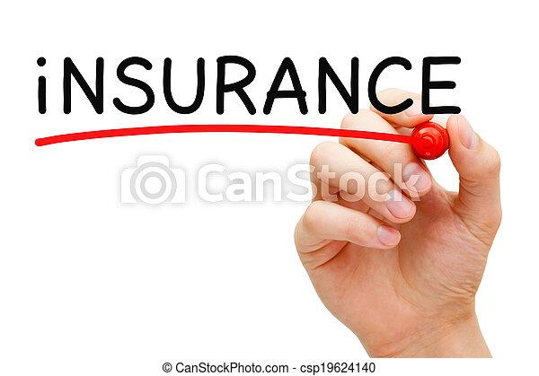 マーカー, 保険, 赤 - csp19624140
