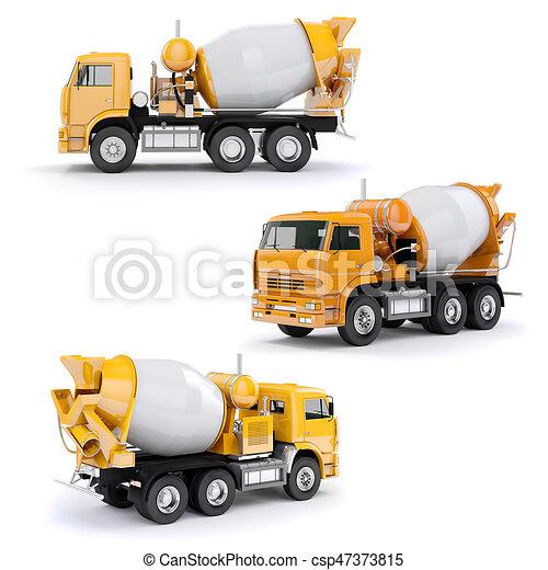 ミキサー, コンクリート, トラック, 背景, 白, 3d - csp47373815