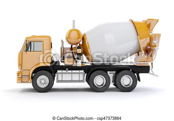 ミキサー, コンクリート, トラック, 背景, 白, 3d - csp47373864