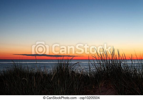 ミシガン州, 日没, 湖 - csp10205504
