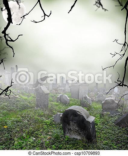 ミステリー, 霧, 古い, 墓地, 台無しにされる - csp10709893