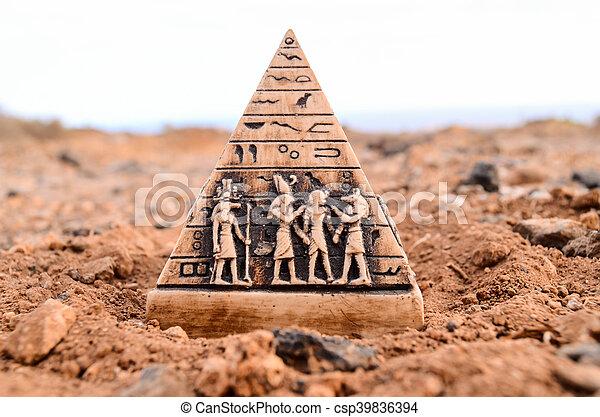 ミニチュア, モデル, ピラミッド, エジプト人 - csp39836394