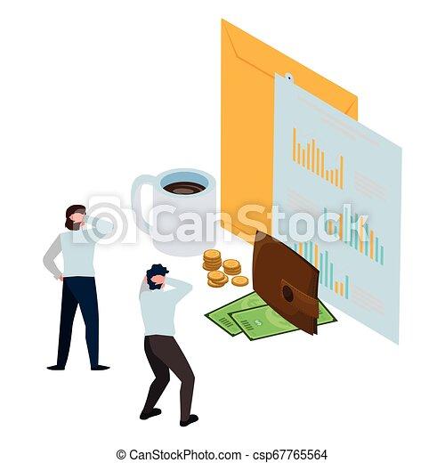 ミニ, オフィス, ビジネス アイコン, 人々, 封筒, マニラ - csp67765564