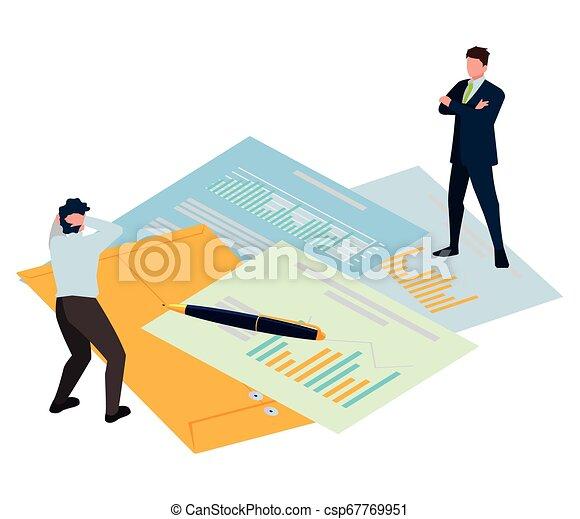 ミニ, オフィス, ビジネス アイコン, 人々, 封筒, マニラ - csp67769951