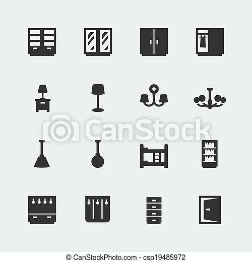 ミニ, セット, アイコン, ベクトル, 家, #2, 家具 - csp19485972