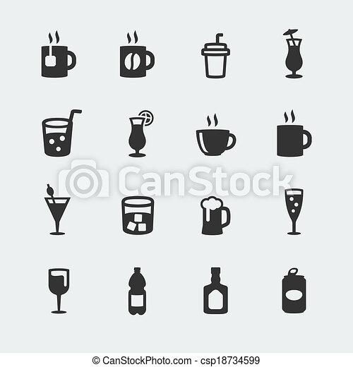 ミニ, ベクトル, セット, 飲料, アイコン - csp18734599