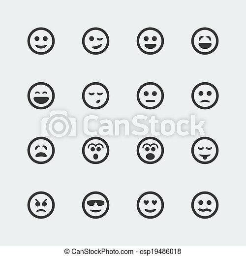 ミニ, 微笑, ベクトル, セット, アイコン - csp19486018