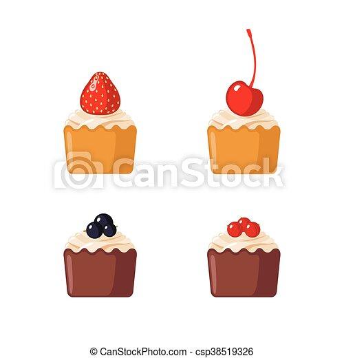ミニ, 白, セット, cupcakes, 背景 - csp38519326