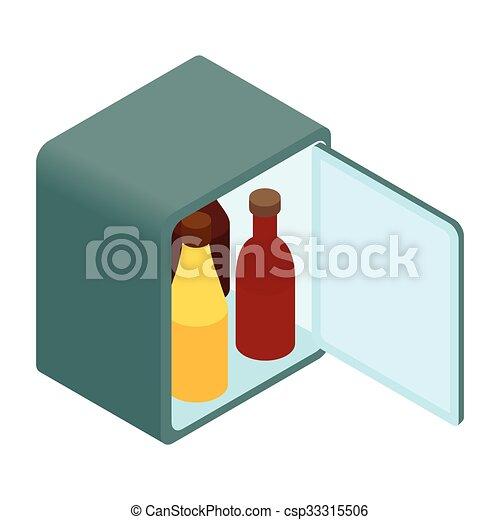 ミニ, 等大, 3d, 冷蔵庫, アイコン - csp33315506