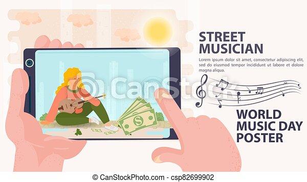 ミュージカル, アイコン, 日, 通り, 手掛かり, 旗, 広告板, 世界音楽, 道具, 音楽家, 女の子, 手, シュート, 平ら, 漫画, 電話, イラスト, ベクトル, 彼女, メモ, 座る - csp82699902