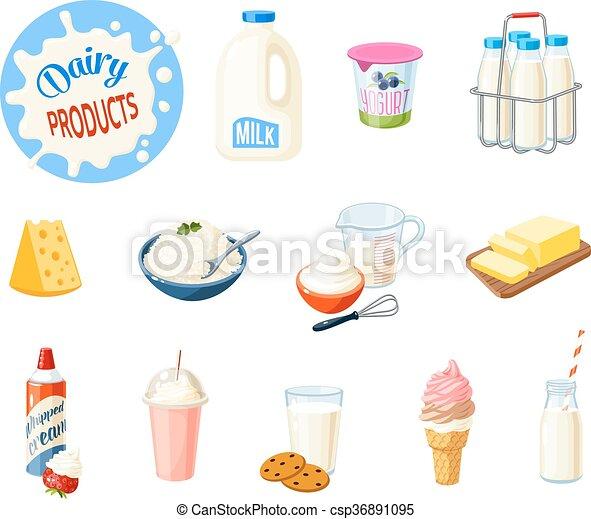 ミルク セット クリーム プロダクト ヨーグルト イラスト 隔離