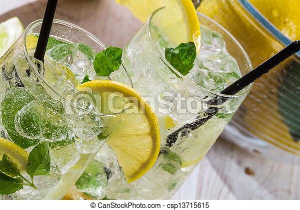 ミント, 飲みなさい, レモン, 氷, 葉 - csp13715615
