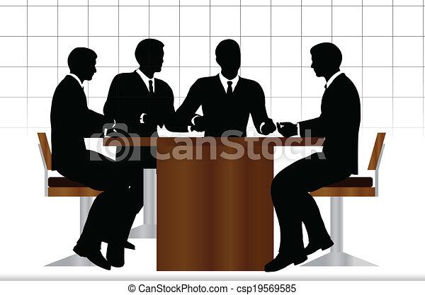 ミーティングの人々, シルエット, ビジネス, モデル - csp19569585