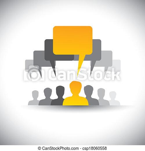 ミーティング, これ, 会社, 抽象的, スタッフ, &, graphic., ミーティング, 社会, リーダー, 人々, 組合, 板, ベクトル, 従業員, グラフィック, 学生, 声, アイコン, リーダーシップ, -, 媒体, ∥など∥, 表す, また, ∥あるいは∥, コミュニケーション - csp18060558